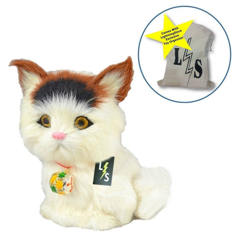 Toy - LightningStore Adorable Cute Long Ear Big Eye Cat Kitten Stuffed Animal Doll Realistic Looking Plush Toys Plushie Children's Gifts Animals + Toy Organizer Bag Bundle