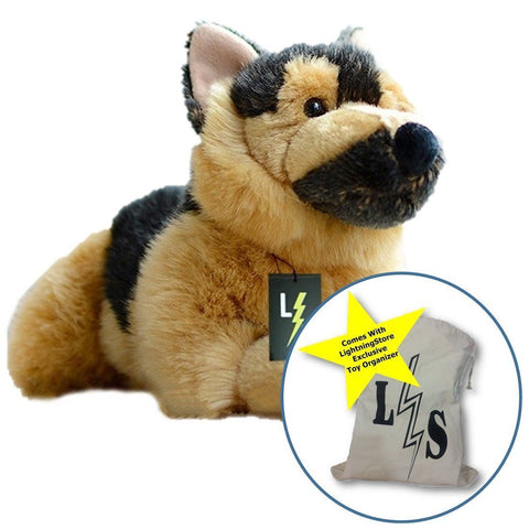 Toy - LightningStore Adorable Cute Lying Sleeping German Shepard Puppy Baby Dog Doll Realistic Looking Stuffed Animal Plush Toys Plushie Children's Gifts Animals + Toy Organizer Bag Bundle