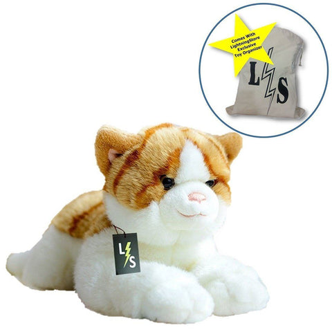 Toy - LightningStore Adorable Cute Orange And White Tiger Stripped Cat Kitten Stuffed Animal Doll Realistic Looking Plush Toys Plushie Children's Gifts Animals + Toy Organizer Bag Bundle