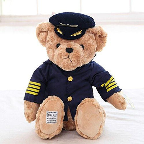 Toy - LightningStore Adorable Cute Pilot Sailor Captain Uniform And Hat Wearing Teddy Bear Doll Realistic Looking Stuffed Animal Plush Toys Plushie Children's Gifts Animals + Toy Organizer Bag Bundle