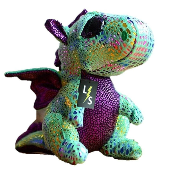 Toy - LightningStore Adorable Cute Rainbow Pattern Spotted Dragon Green Turquoise Dinosaur Doll Realistic Looking Stuffed Animal Plush Toys Plushie Children's Gifts Animals