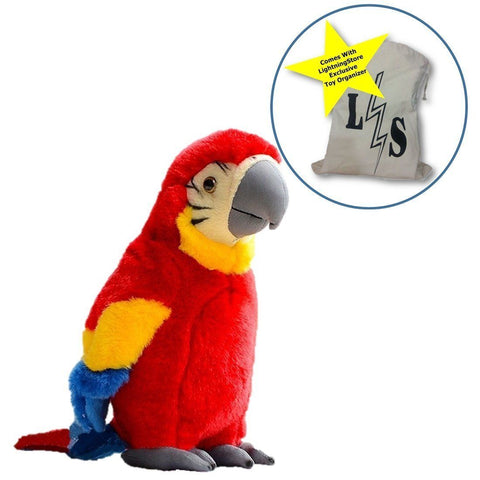 Toy - LightningStore Adorable Cute Red Yellow Blue Parrot Doll Realistic Looking Stuffed Animal Plush Toys Plushie Children's Gifts Animals + Toy Organizer Bag Bundle