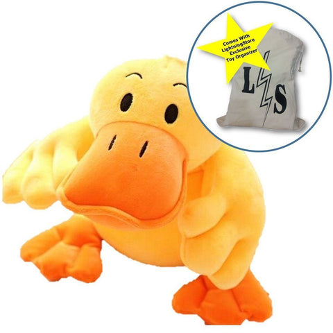 Toy - LightningStore Adorable Cute Rubber Duck Doll Realistic Looking Stuffed Animal Plush Toys Plushie Children's Gifts Animals + Toy Organizer Bag Bundle