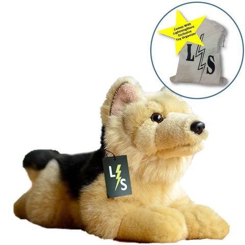 Toy - LightningStore Adorable Cute Sitting German Shepherd Stuffed Animal Doll Realistic Looking Plush Toys Plushie Children's Gifts Animals + Toy Organizer Bag Bundle