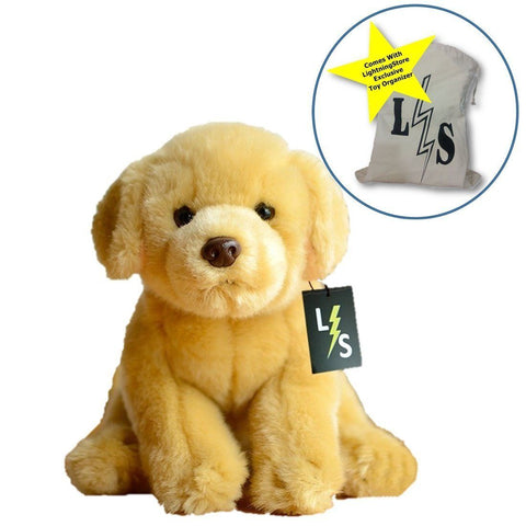 Toy - LightningStore Adorable Cute Sitting Golden Retriever Labrador Puppy Dog Stuffed Animal Doll Realistic Looking Plush Toys Plushie Children's Gifts Animals + Toy Organizer Bag Bundle