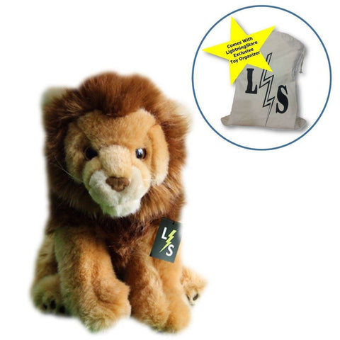 Toy - LightningStore Adorable Cute Sitting Lion Stuffed Animal Doll Realistic Looking Plush Toys Plushie Children's Gifts Animals + Toy Organizer Bag Bundle