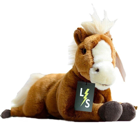 Toy - LightningStore Adorable Cute Sitting Lying Sleeping Brown And White Horse Pony Doll Realistic Looking Stuffed Animal Plush Toys Plushie Children's Gifts Animals