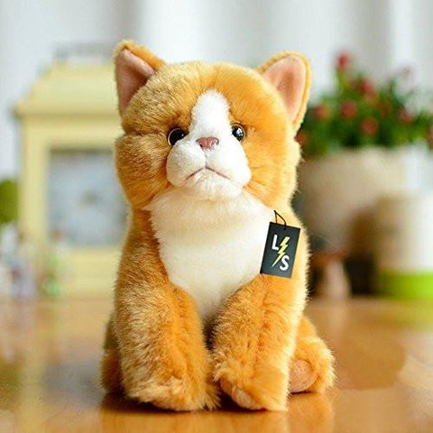 Toy - LightningStore Adorable Cute Sitting Orange Cat Kitten Stuffed Animal Doll Realistic Looking Plush Toys Plushie Children's Gifts Animals + Toy Organizer Bag Bundle