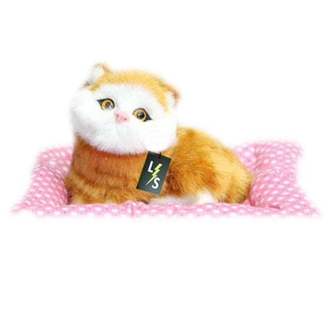 Toy - LightningStore Adorable Cute Sitting Orange Cat Stuffed Animal Doll Realistic Looking Plush Toys Plushie Children's Gifts Animals