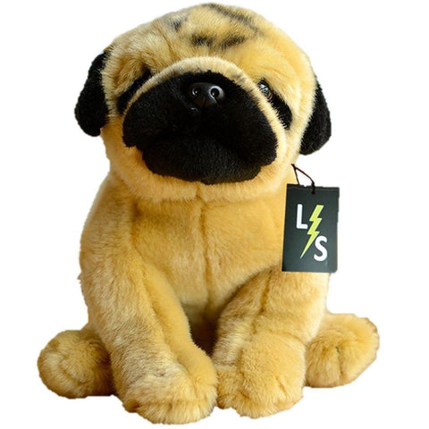 Toy - LightningStore Adorable Cute Sitting Pug Puppy Dog Stuffed Animal Doll Realistic Looking Plush Toys Plushie Children's Gifts Animals
