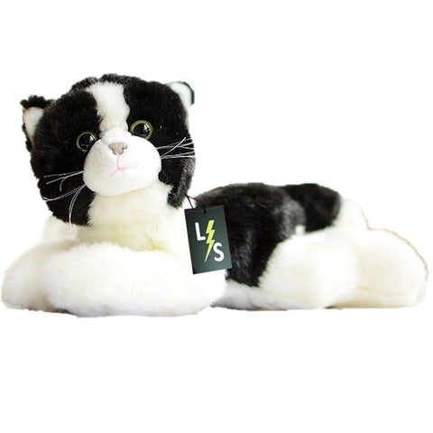 Toy - LightningStore Adorable Cute Sleeping Lying Black And White Oreo Cookie And Cream Cat Kitten Stuffed Animal Doll Realistic Looking Plush Toys Plushie Children's Gifts Animals