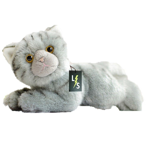 Toy - LightningStore Adorable Cute Sleeping Lying Gray Cat Kitten Stuffed Animal Doll Realistic Looking Plush Toys Plushie Children's Gifts Animals