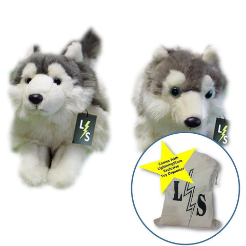 Toy - LightningStore Adorable Cute Sleeping Lying Siberian Husky Puppy Brothers Dog Doll Stuffed Animal Doll Realistic Looking Plush Toys Plushie Children's Gifts Animals + Toy Organizer Bag Bundle