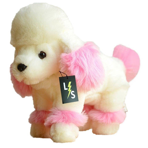 Toy - LightningStore Adorable Cute White And Pink Female Poodle Dog Puppy Girl Stuffed Animal Doll Realistic Looking Plush Toys Plushie Children's Gifts Animals