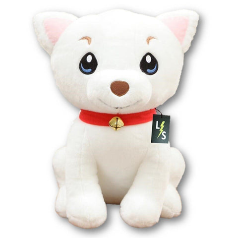 Toy - LightningStore Adorable Cute White And Red Scarf Cartoon Dog Stuffed Animal Doll Realistic Looking Plush Toys Plushie Children's Gifts Animals