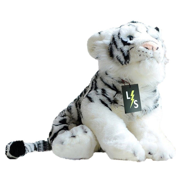 Toy - LightningStore Adorable Cute White Bengal Siberian Tiger Cub Baby Doll Realistic Looking Stuffed Animal Plush Toys Plushie Children's Gifts Animals