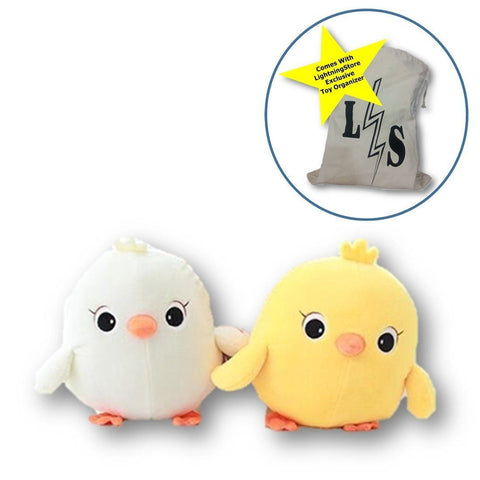 Toy - LightningStore Adorable Cute White Yellow Chicken Stuffed Animal Doll Realistic Looking Plush Toys Plushie Children's Gifts Animals + Toy Organizer Bag Bundle