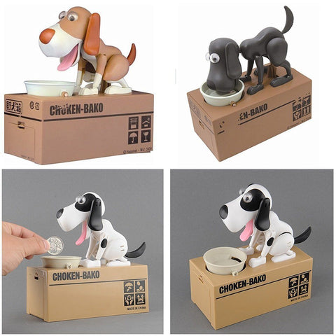 Toy - Lightningstore Automatic Brown Black And White Dog Puppy Coin Piggy Bank Box For Kids - Your Pet Will Come Out And Get Your Coin - Excellent For Encouraging Money Saving For Your Kids