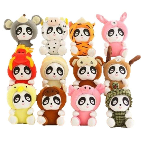 Toy - LightningStore Cute 12 Pieces/Order Dozen Zodiac Pandas Dog Rat Cow Tiger Pig Dragon Monkey Doll Realistic Looking Stuffed Animal Plush Toys Plushie Children's Gifts Animals