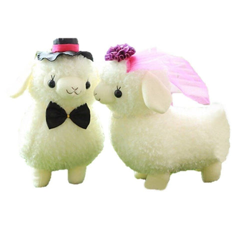 Toy - LightningStore Cute 2 Pieces/Order Wedding Sheep Bride Groom Set Of 2 Dolls Realistic Looking Stuffed Animal Plush Toys Plushie Children's Gifts Animals