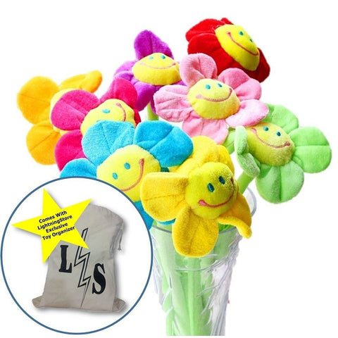 Toy - LightningStore Cute 8 Pieces Set Colorful Red Yellow Blue Pink Purple Green Flower Bouquet Sunflower Plant Doll Realistic Looking Plush Toys Plushie Children's Gifts Animals + Toy Organizer Bundle