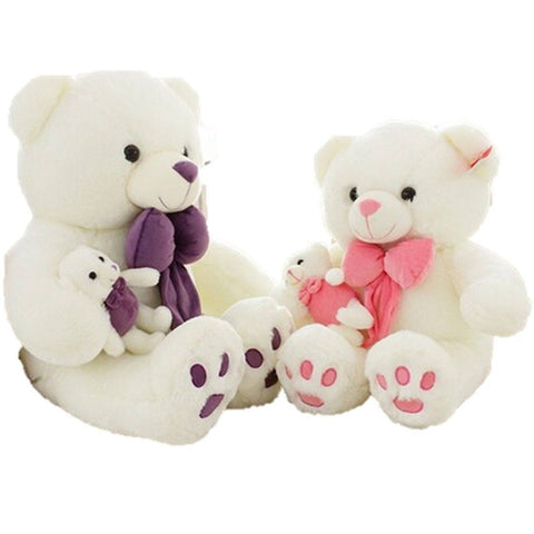 Toy - LightningStore Cute Big Large Giant 50 Cm White Bear With Purple Pink Bowtie Doll Realistic Looking Stuffed Animal Plush Toys Plushie Children's Gifts Animals
