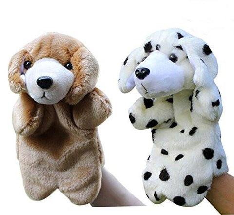 Toy - LightningStore Cute Brown Black And White Oreo Cookie And Cream Dalmatian Dog Hand Puppet For Story Telling Bedtime Stories Doll Realistic Looking Stuffed Animal Plush Toys Plushie Children's