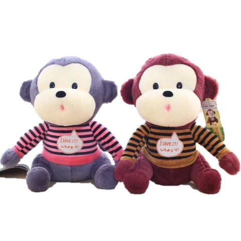 Toy - LightningStore Cute Colorful Brown Blue Sweater Shirt Clothes T-Shirrt I Love You Funny Cartoon Monkey Doll Realistic Looking Stuffed Animal Plush Toys Plushie Children's Gifts Animals