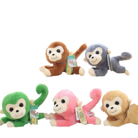 Toy - LightningStore Cute Colorful Green Pink Brown Blue Funny Long Curly Tail Monkey Doll Realistic Looking Stuffed Animal Plush Toys Plushie Children's Gifts Animals
