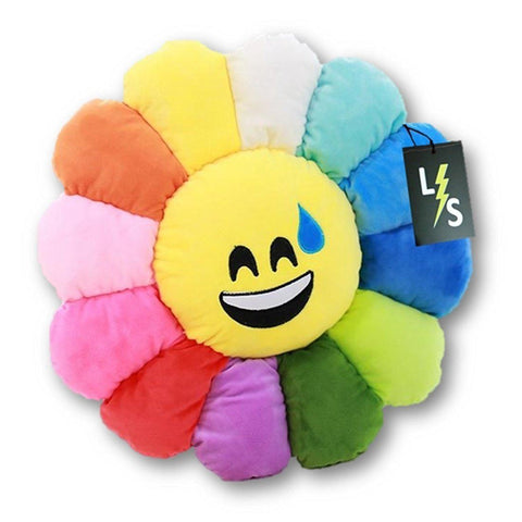 Toy - LightningStore Cute Colorful Rainbow Red Orange Yellow Blue Green Purple Sweat Laughing Emotion Emoticon Emoji Sunflower Doll Pillow Cushion Realistic Plush Toys Plushie Children's Gifts Animals