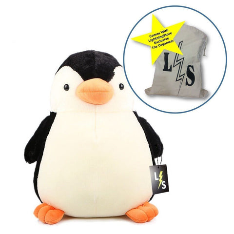 Toy - LightningStore Cute Fat Penguin Doll Realistic Looking Stuffed Animal Plush Toys Plushie Children's Gifts Animals + Toy Organizer Bag Bundle