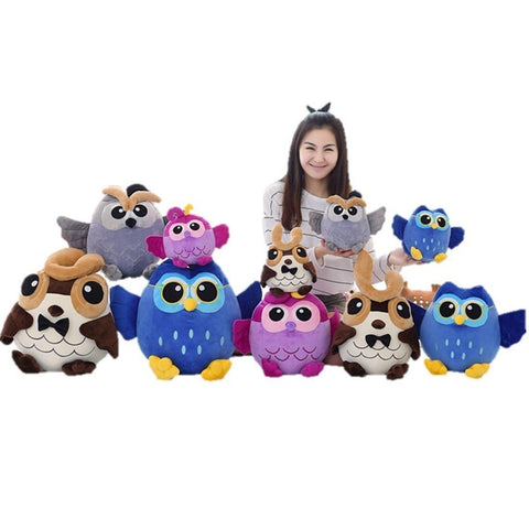 Toy - LightningStore Cute Funny Purple Blue Gray Brown Cartoon Owl Doll Realistic Looking Stuffed Animal Plush Toys Plushie Children's Gifts Animals