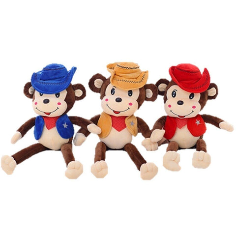 Toy - LightningStore Cute Giant Huge Big Large 80 Cm Red Brown Blue Cowboy Sheriff Police Monkey Doll Realistic Looking Stuffed Animal Plush Toys Plushie Children's Gifts Animals