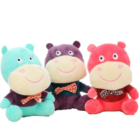 Toy - LightningStore Cute Green Pink Purple Colorful Hippo Wearing Bow Tie Doll Realistic Looking Stuffed Animal Plush Toys Plushie Children's Gifts Animals