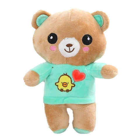 Toy - LightningStore Cute Green Purple White Brown Big Head Bear Wearing Clothes Shirt Doll Stuffed Animal Plush Toys Plushie Children's Gifts Animals