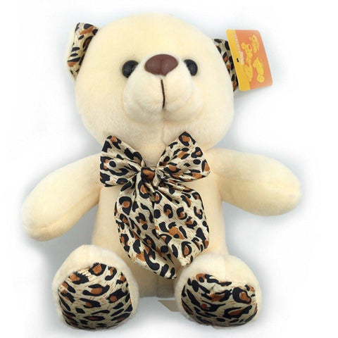 Toy - LightningStore Cute Light Yellow Bear With Leopard Bow Tie Doll Realistic Looking Stuffed Animal Plush Toys Plushie Children's Gifts Animals