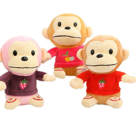 Toy - LightningStore Cute Monkey Wearing Red Pink Purple Clothes Fruit Sweater Doll Realistic Looking Stuffed Animal Plush Toys Plushie Children's Gifts Animals