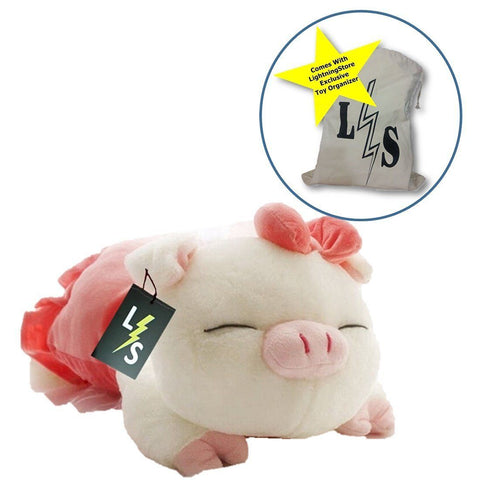 Toy - LightningStore Cute Pink Sleeping Pig Doll Realistic Looking Stuffed Animal Plush Toys Plushie Children's Gifts Animals + Toy Organizer Bag Bundle