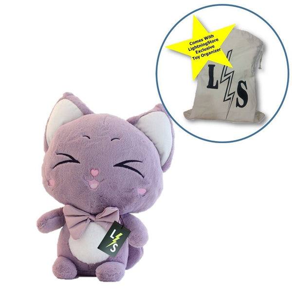 Toy - LightningStore Cute Purple Green Blue Cartoon Cat Doll Realistic Looking Stuffed Animal Plush Toys Plushie Children's Gifts Animals + Toy Organizer Bag Bundle