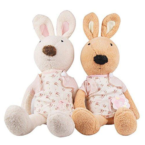 Toy - LightningStore Cute White Brown Rabbits Wearing Flower Shirt Doll Realistic Looking Stuffed Animal Plush Toys Plushie Children's Gifts Animals