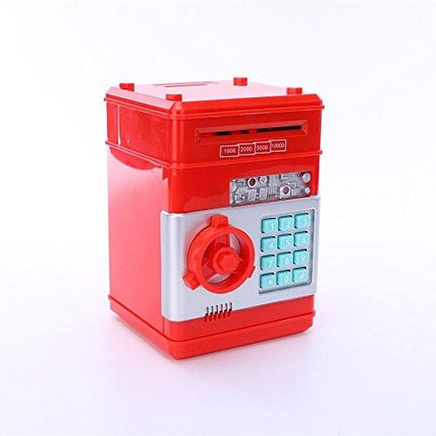 Toy - Lightningstore Electronic Passcode Locked Piggy Bank - Accepts Both Coins And Bills - Cash Deposit Safety Box - ATM Machine For Children Kids - Comes In Red White Black Pink Blue