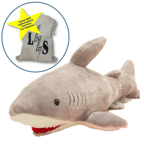 Toy - LightningStore High Quality L60cm PP Cotton Shark Plush Stuffed Animal Doll Pillow Toy Doll Gift For Kids Birthday&Girl Or Boy Friend Large Animals Plush + Toy Organizer Bag Bundle