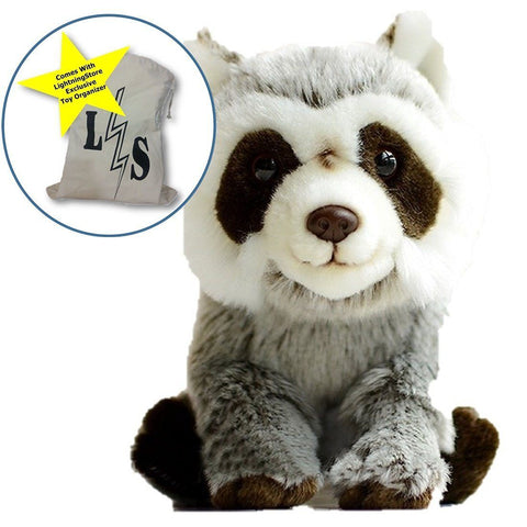 Toy - LightningStore Raccoon Doll Dolls Realistic Looking Stuffed Animal Plush Toys Plushie Children's Gifts Animals + Toy Organizer Bag Bundle
