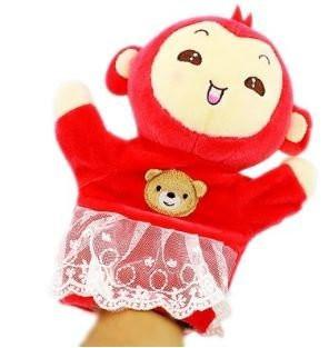 Toy - LightningStore Super Cute Red Monkey Wearing Clothes Puppet For Story Telling Bedtime Story Stories Doll Realistic Looking Stuffed Animal Plush Toys Plushie Children's Gifts Animals