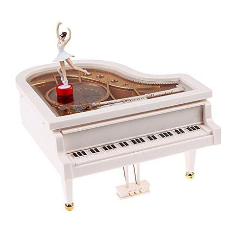 Toy - LightningStore Vintage Classical Ballerina White Grand Piano Music Box - An Excellent Gift For Children, Teens, And Adults - Light Up Your Day With Relaxing Music From This Musical Box