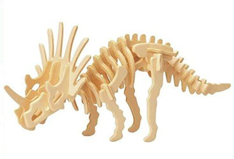 Toy - LightningStore Wooden Dinosaur Triceratops Tyrannosaurus Rex Stegosaurus Velociraptor 3D Jigsaw Puzzle For Kids And Children - Educational Toy To Maximize Learning - Excellent Gift Idea