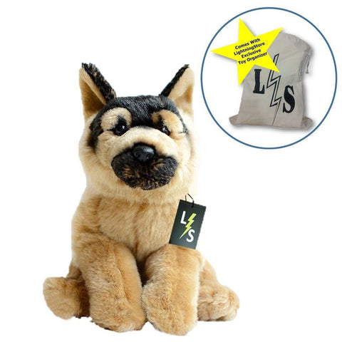 Toy - New Release!! LightningStore Cute German Shepard Dog Doll Realistic Looking Stuffed Animal Plush Toys Plushie Children's Gifts Animals + Toy Organizer Bag Bundle