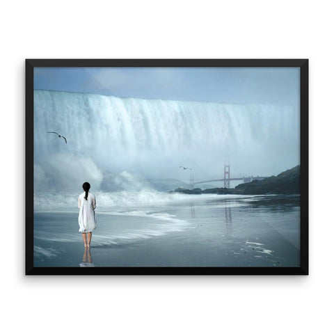 Waterfall Girl Framed Photo Poster Wall Art Decoration Decor For Bedroom Living Room