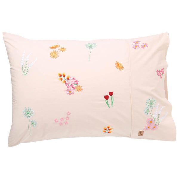 Kip & Co Pillowcase Kip & Co Wild Flower Embroidered Pillowcase