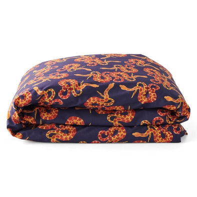 Kip & Co Slither Navy Cotton Duvet Cover (PRE-ORDER)-Duvet cover-Antipodream
